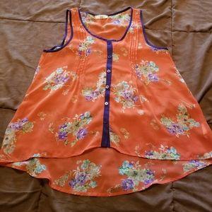 4/$25 lush sheer orange floral button- front tank